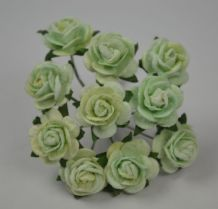 1.5cm MINT GREEN Mulberry Paper Roses